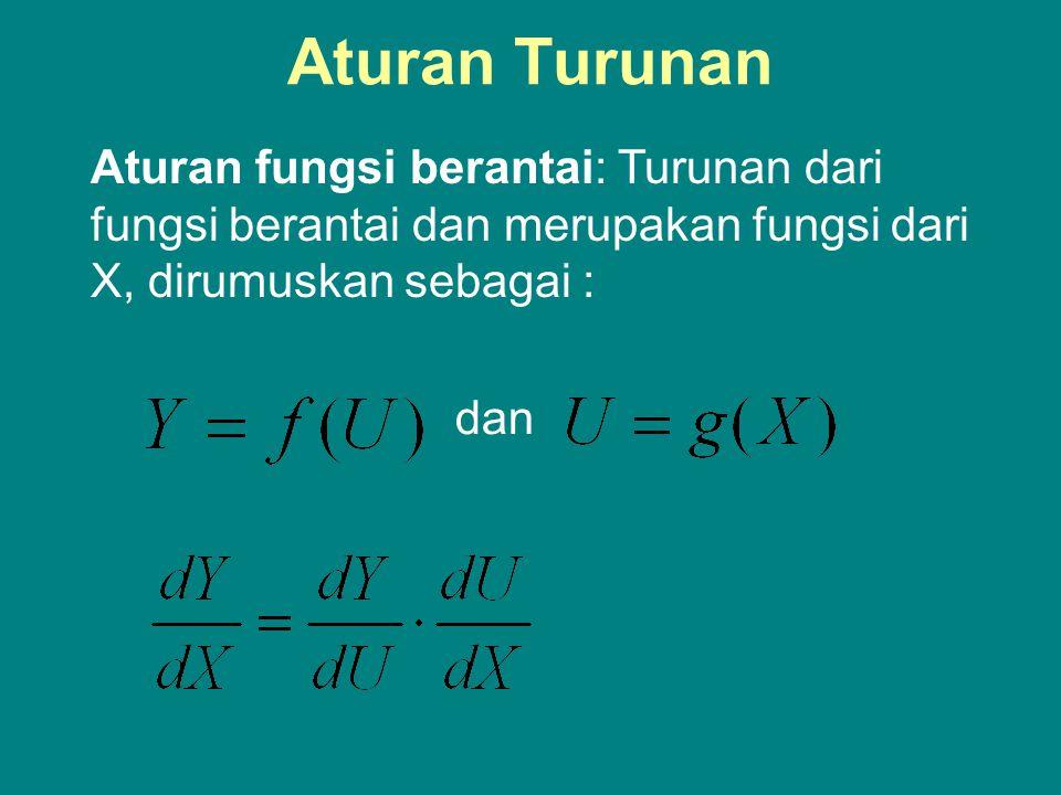 Aturan Turunan Aturan fungsi berantai: Turunan dari fungsi berantai dan merupakan fungsi dari X, dirumuskan sebagai :