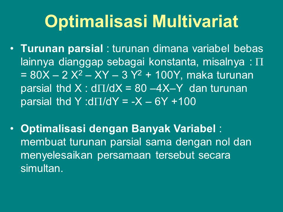 Optimalisasi Multivariat