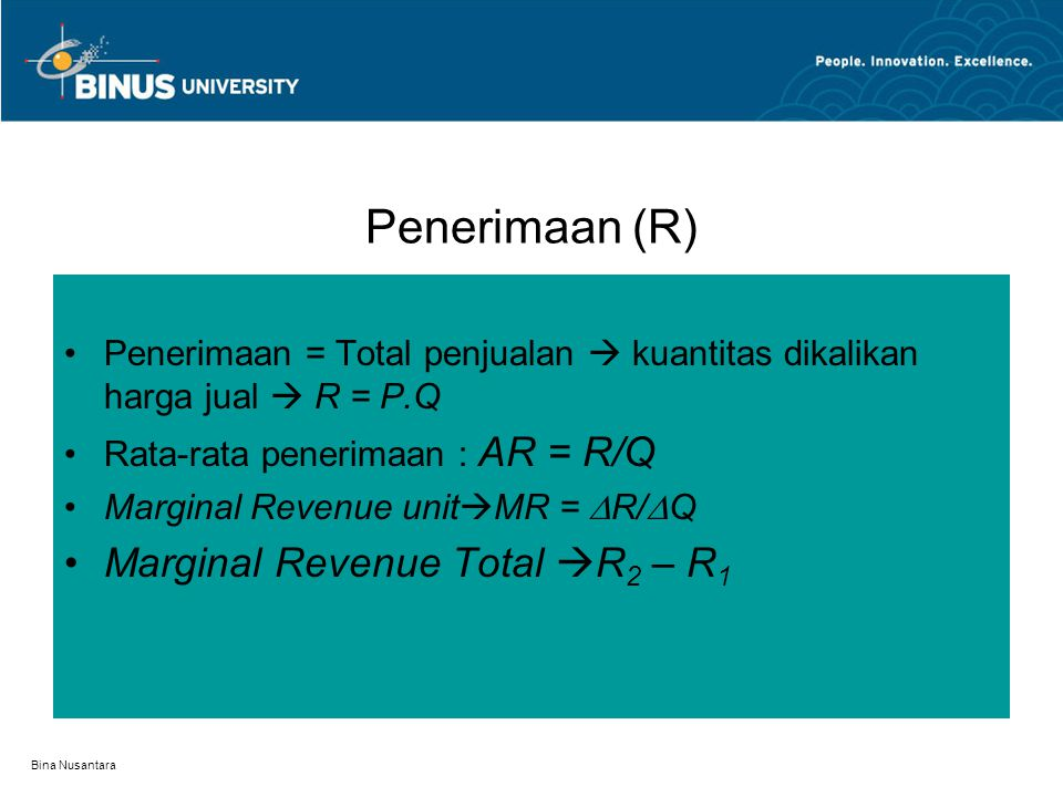 Penerimaan (R) Marginal Revenue Total R2 – R1