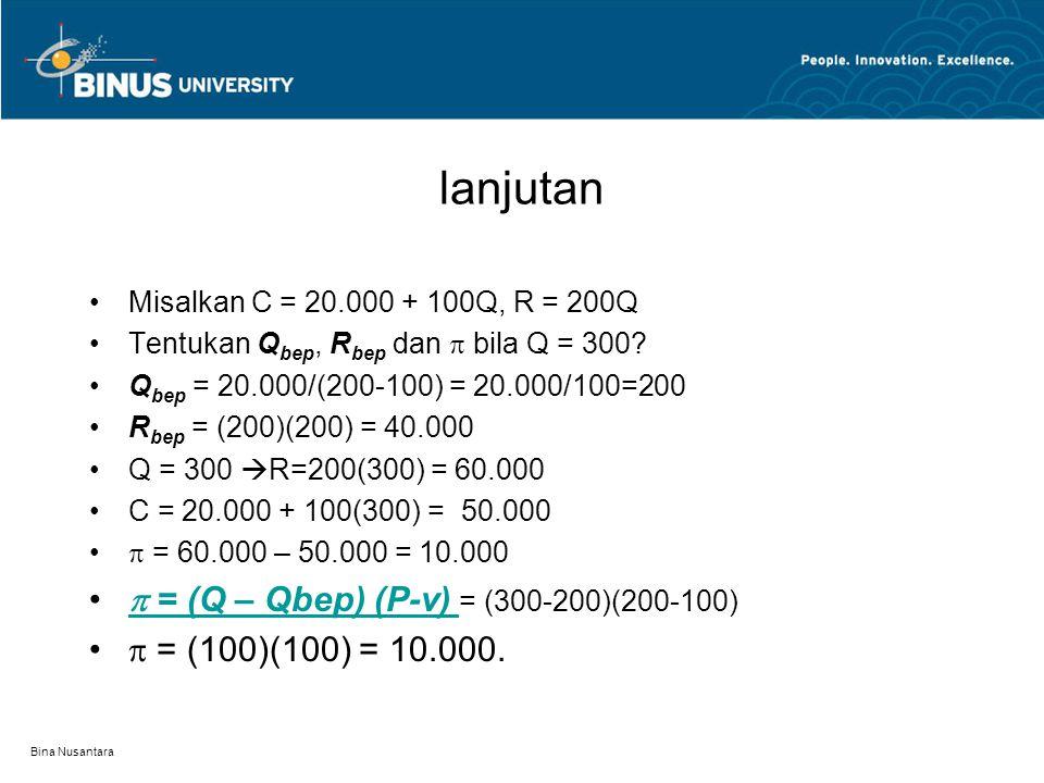 lanjutan  = (Q – Qbep) (P-v) = (300-200)(200-100)