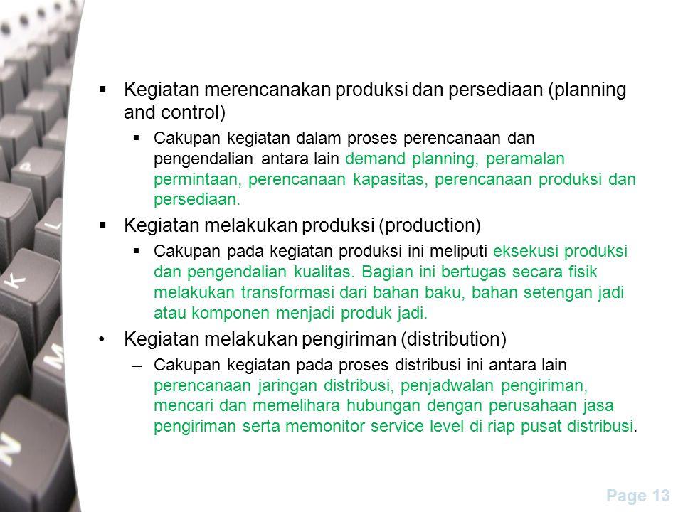 Kegiatan merencanakan produksi dan persediaan (planning and control)