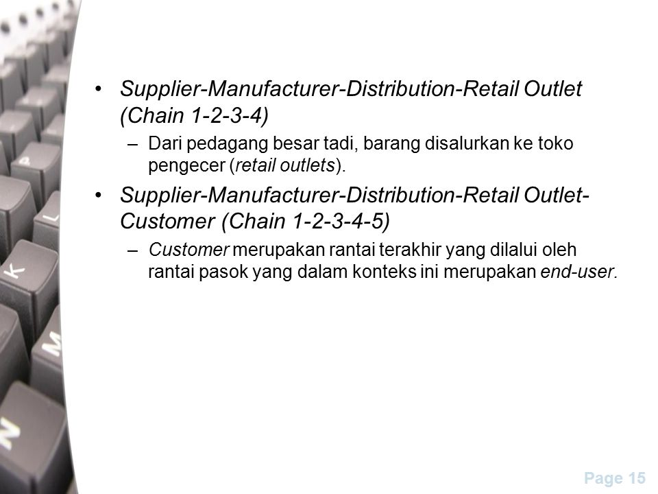 Supplier-Manufacturer-Distribution-Retail Outlet (Chain 1-2-3-4)