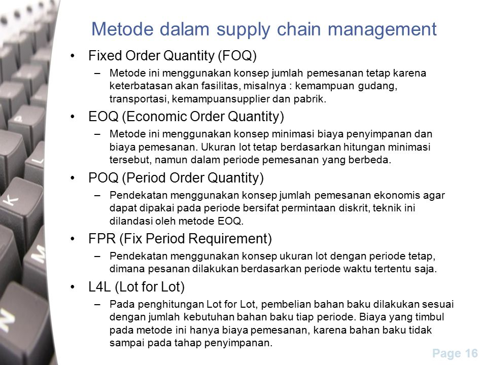 Metode dalam supply chain management