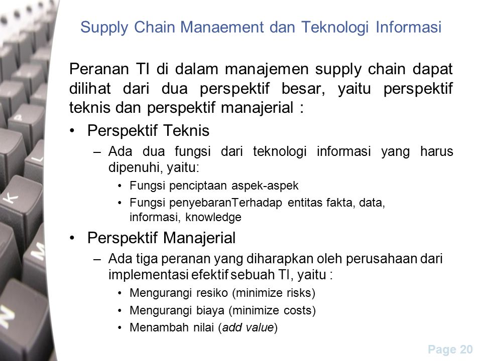 Supply Chain Manaement dan Teknologi Informasi