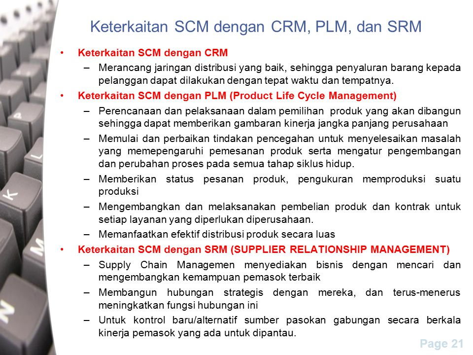 Keterkaitan SCM dengan CRM, PLM, dan SRM