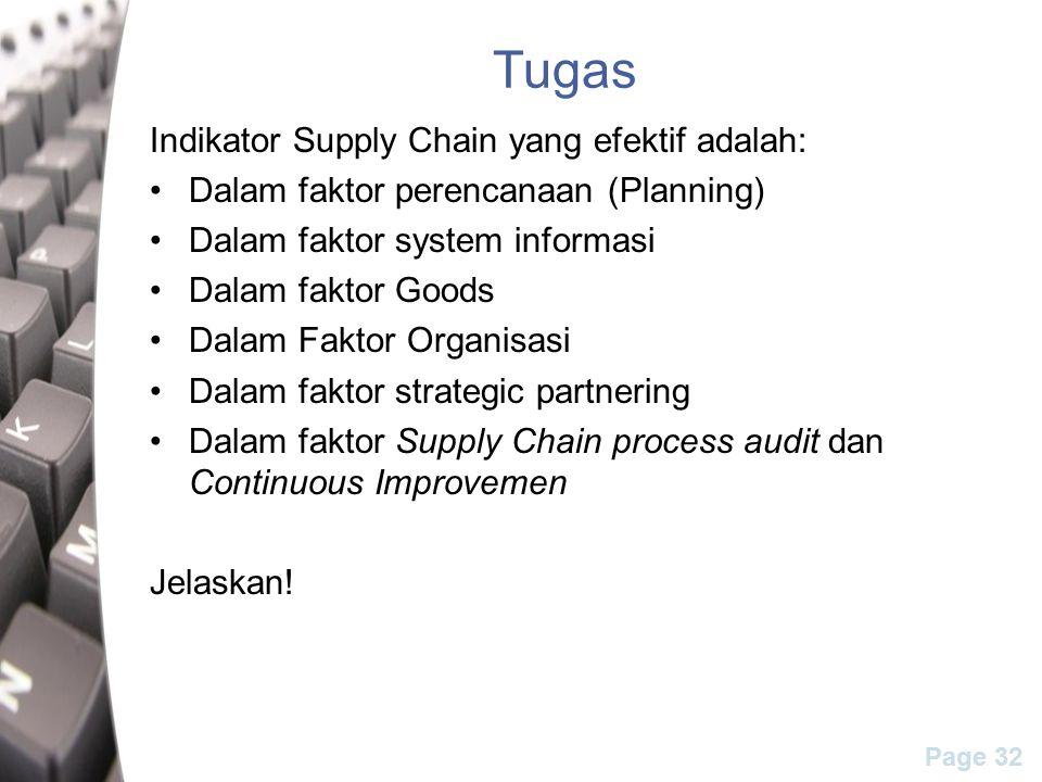 Tugas Indikator Supply Chain yang efektif adalah: