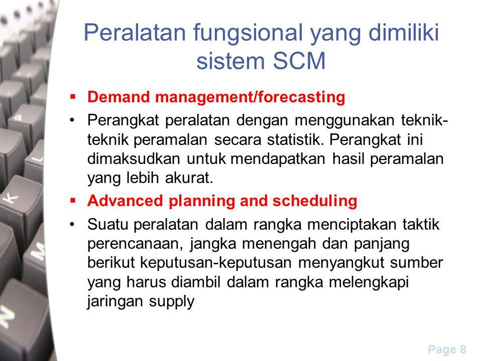 Peralatan fungsional yang dimiliki sistem SCM