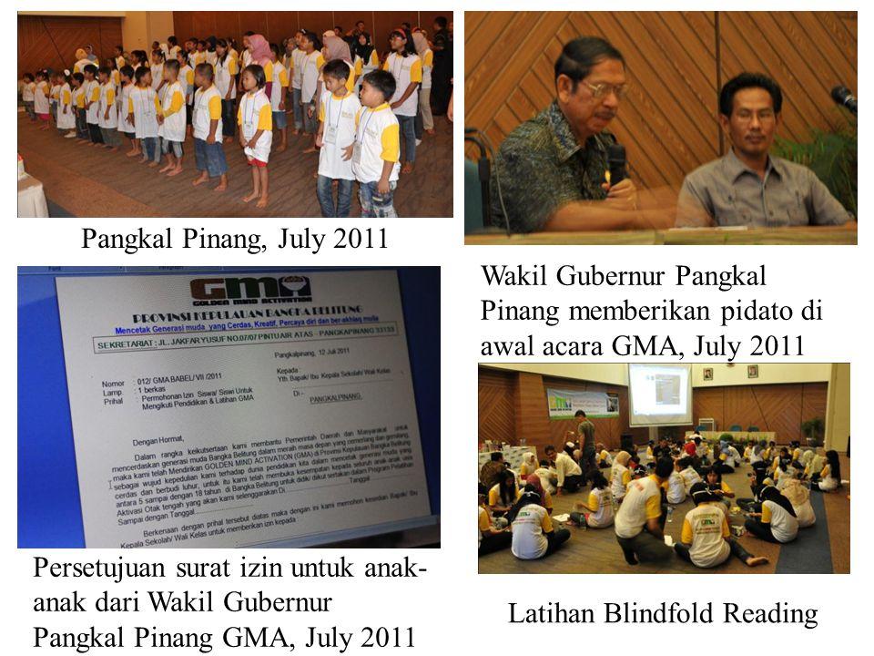 Pangkal Pinang, July 2011 Wakil Gubernur Pangkal Pinang memberikan pidato di awal acara GMA, July 2011.