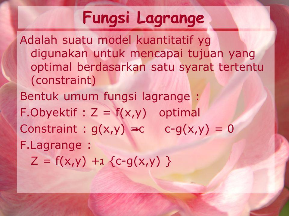 Fungsi Lagrange Adalah suatu model kuantitatif yg digunakan untuk mencapai tujuan yang optimal berdasarkan satu syarat tertentu (constraint)