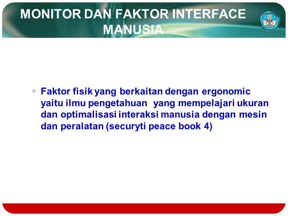 MONITOR DAN FAKTOR INTERFACE MANUSIA