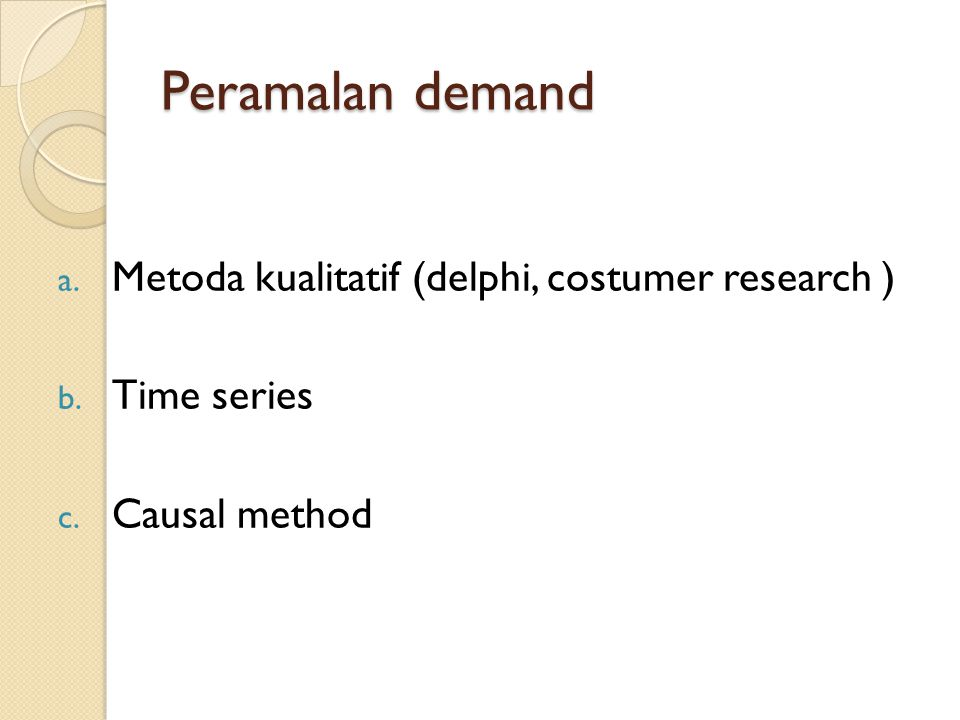 Peramalan demand Metoda kualitatif (delphi, costumer research )