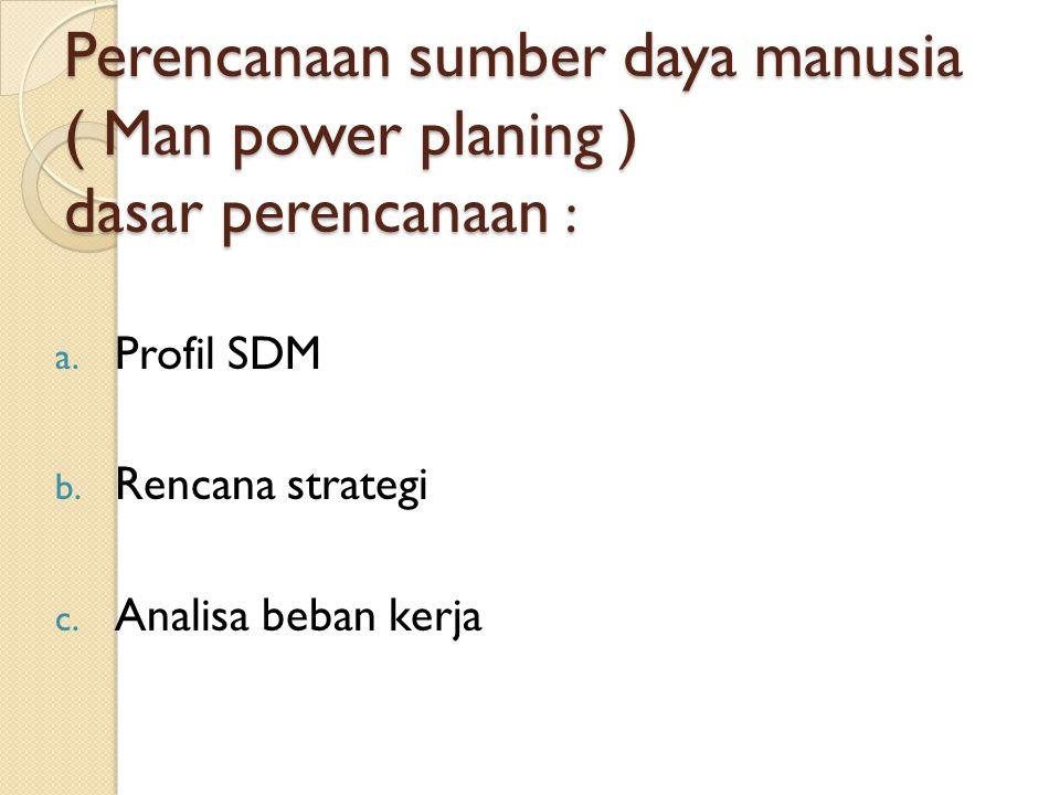 Perencanaan sumber daya manusia ( Man power planing ) dasar perencanaan :