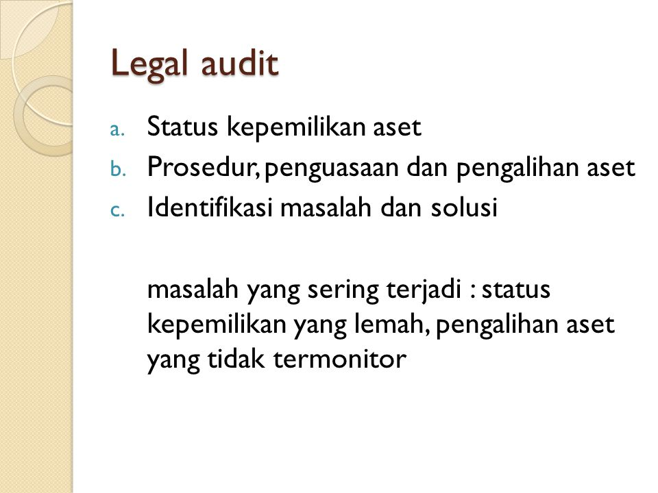 Legal audit Status kepemilikan aset