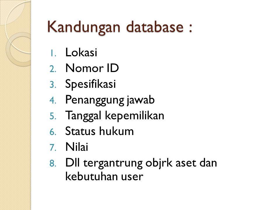 Kandungan database : Lokasi Nomor ID Spesifikasi Penanggung jawab