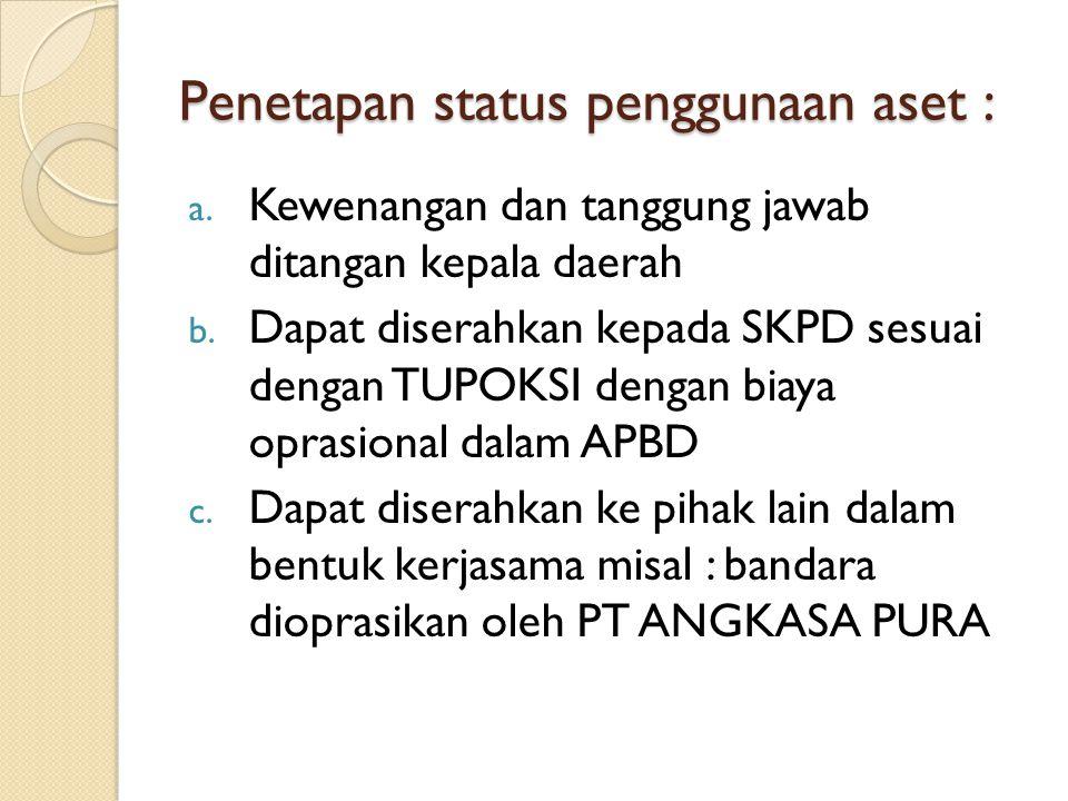 Penetapan status penggunaan aset :