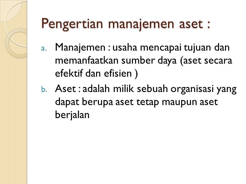 Pengertian manajemen aset :