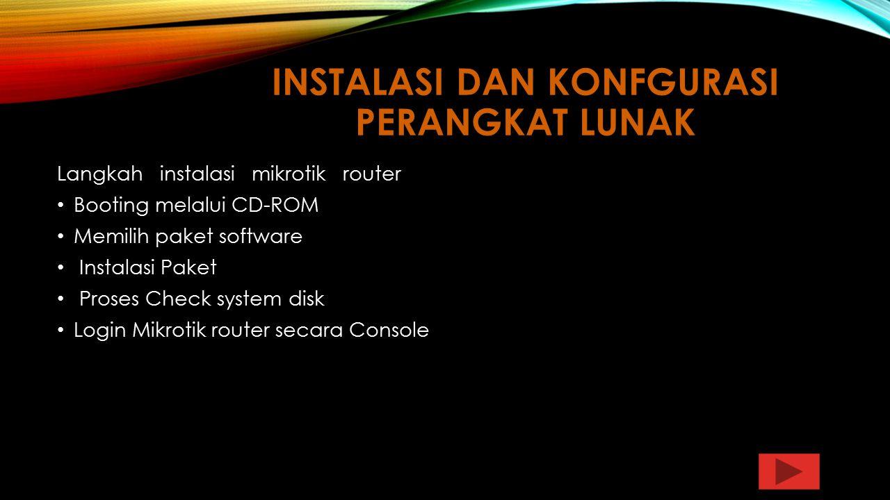 Instalasi dan konfgurasi Perangkat Lunak