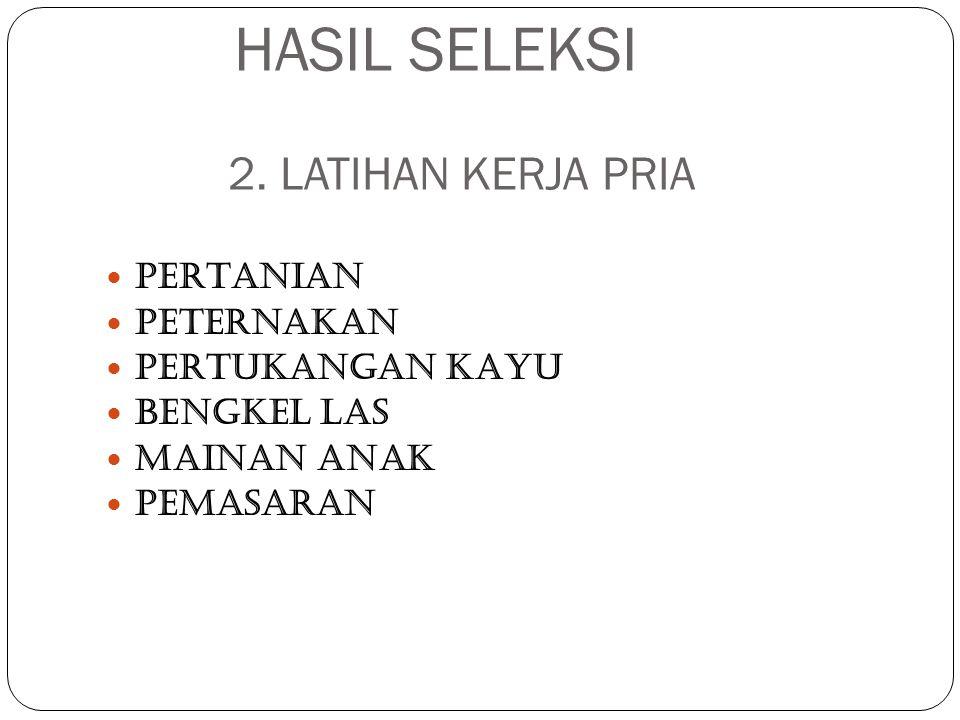HASIL SELEKSI 2. LATIHAN KERJA PRIA