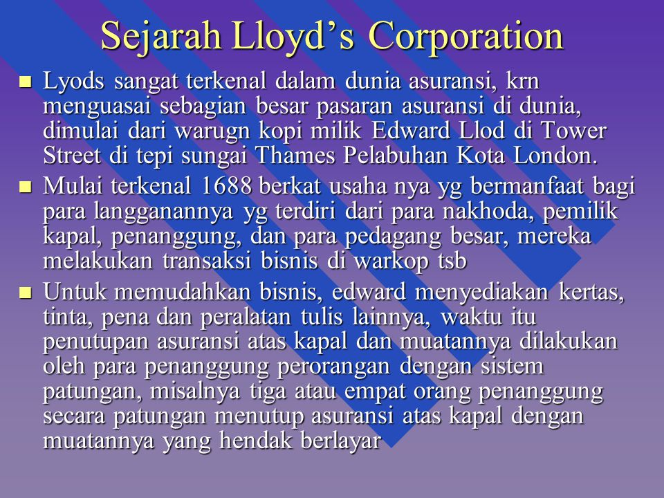 Sejarah Lloyd's Corporation