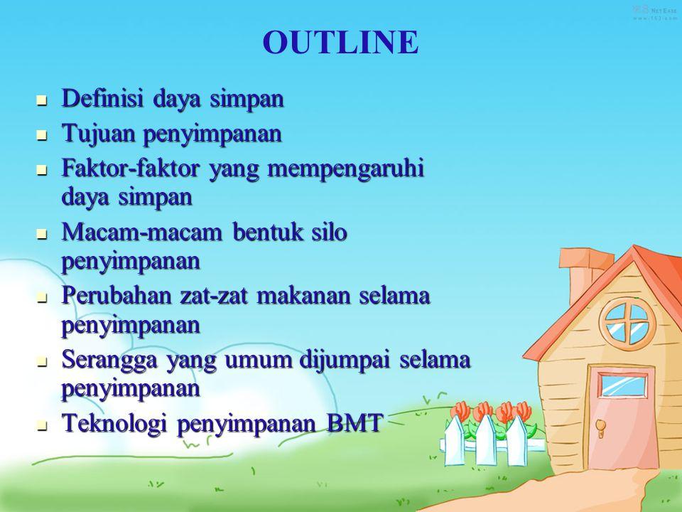 Outline OUTLINE Definisi daya simpan Tujuan penyimpanan