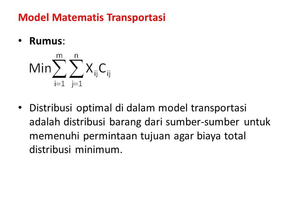 Model Matematis Transportasi