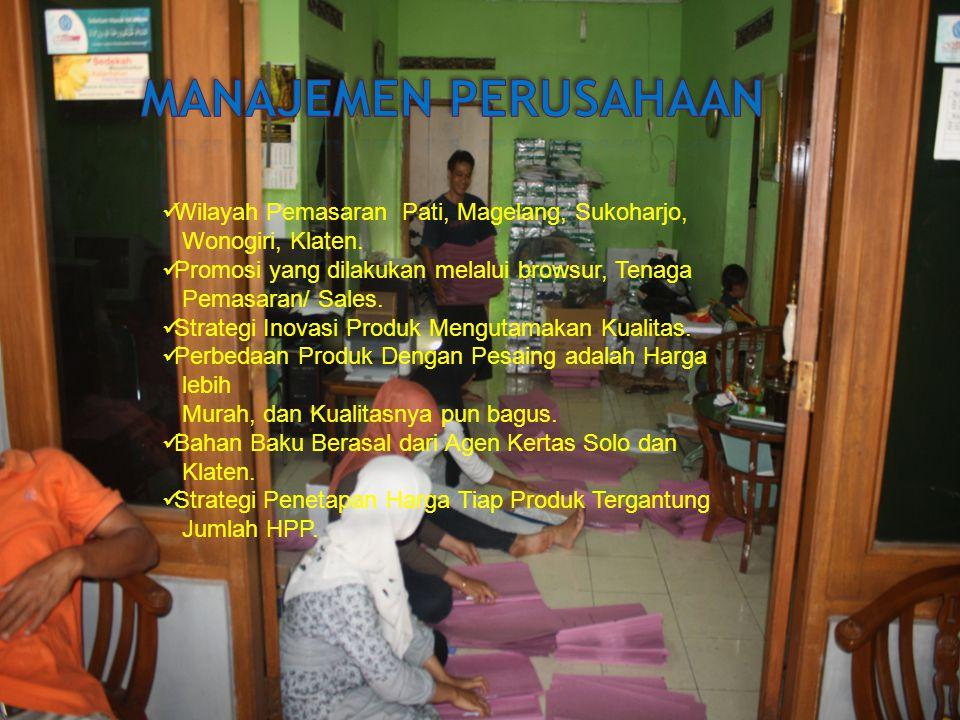 Manajemen perusahaan Wilayah Pemasaran Pati, Magelang, Sukoharjo,