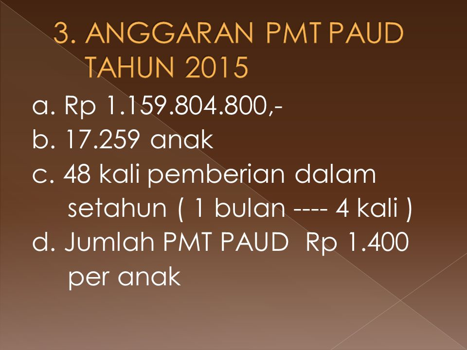 3. ANGGARAN PMT PAUD TAHUN 2015