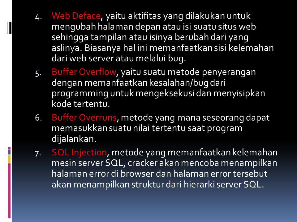 Web Deface, yaitu aktifitas yang dilakukan untuk mengubah halaman depan atau isi suatu situs web sehingga tampilan atau isinya berubah dari yang aslinya. Biasanya hal ini memanfaatkan sisi kelemahan dari web server atau melalui bug.