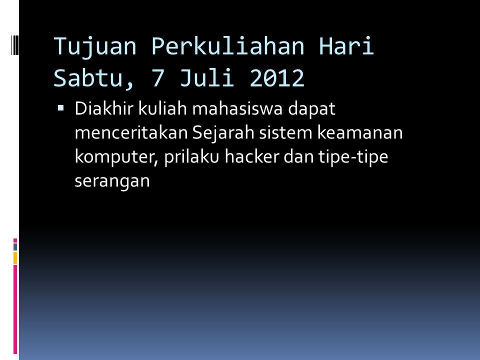 Tujuan Perkuliahan Hari Sabtu, 7 Juli 2012