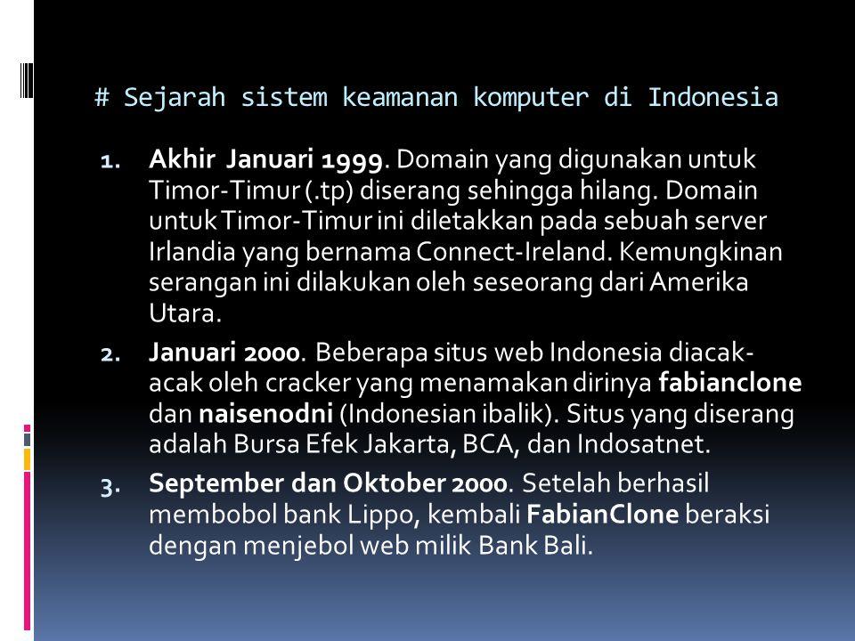# Sejarah sistem keamanan komputer di Indonesia