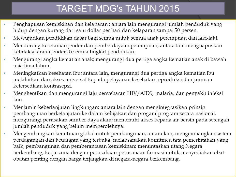 TARGET MDG s TAHUN 2015