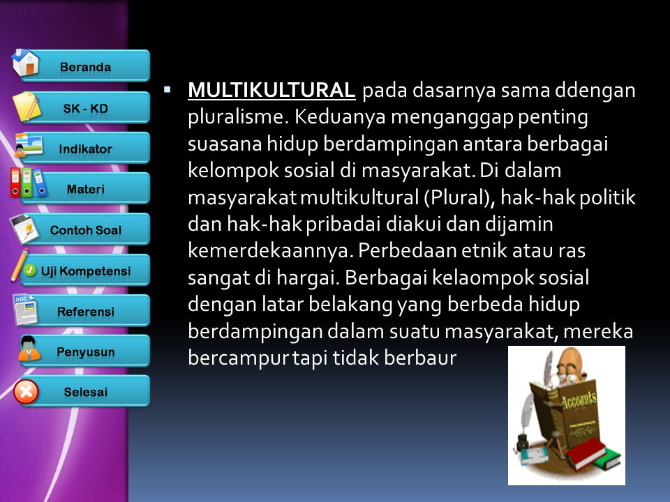 MULTIKULTURAL pada dasarnya sama ddengan pluralisme