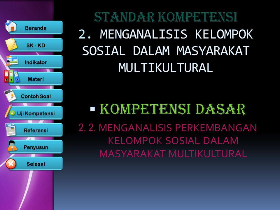STANDAR KOMPETENSI 2. MENGANALISIS KELOMPOK SOSIAL DALAM MASYARAKAT MULTIKULTURAL