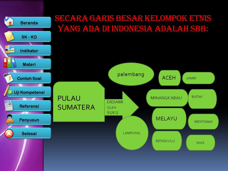 SECARA GARIS BESAR KELOMPOK ETNIS YANG ADA DI INDONESIA ADALAH SBB:
