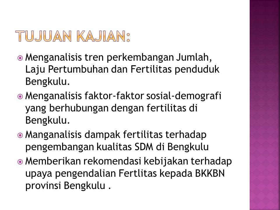 Tujuan kajian: Menganalisis tren perkembangan Jumlah, Laju Pertumbuhan dan Fertilitas penduduk Bengkulu.