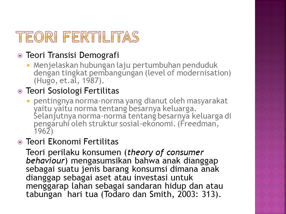 Teori fertilitas Teori Transisi Demografi Teori Sosiologi Fertilitas