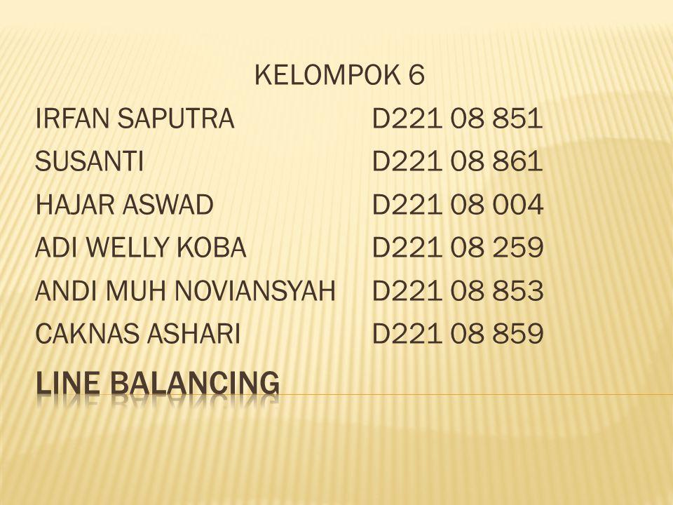 LINE BALANCING KELOMPOK 6 IRFAN SAPUTRA D221 08 851
