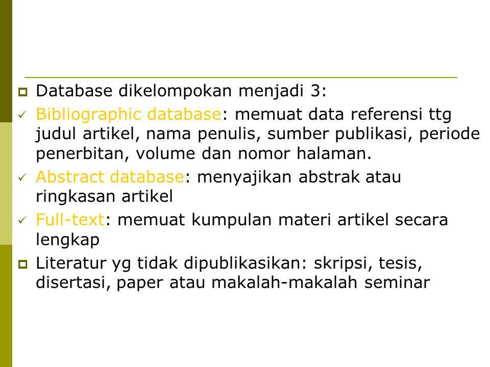 Database dikelompokan menjadi 3: