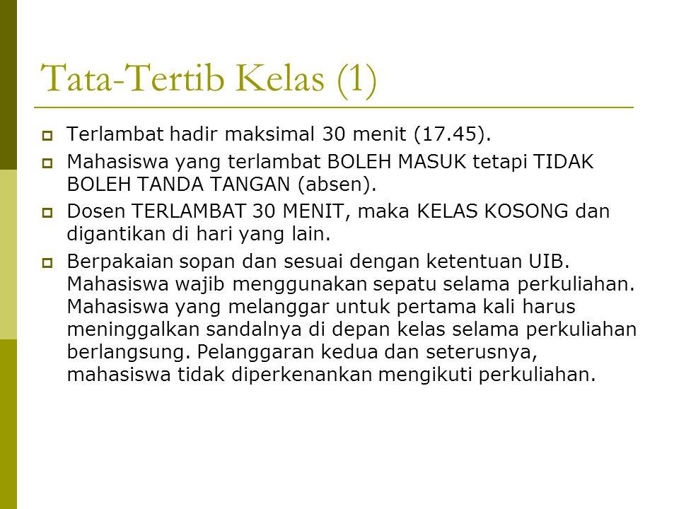 Tata-Tertib Kelas (1) Terlambat hadir maksimal 30 menit (17.45).