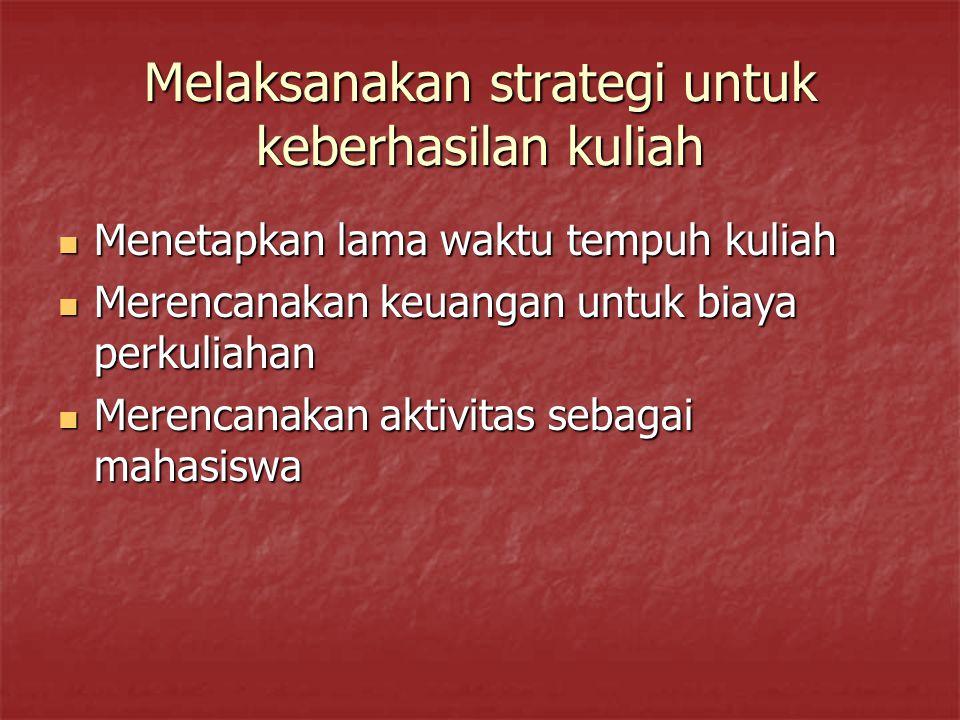 Melaksanakan strategi untuk keberhasilan kuliah