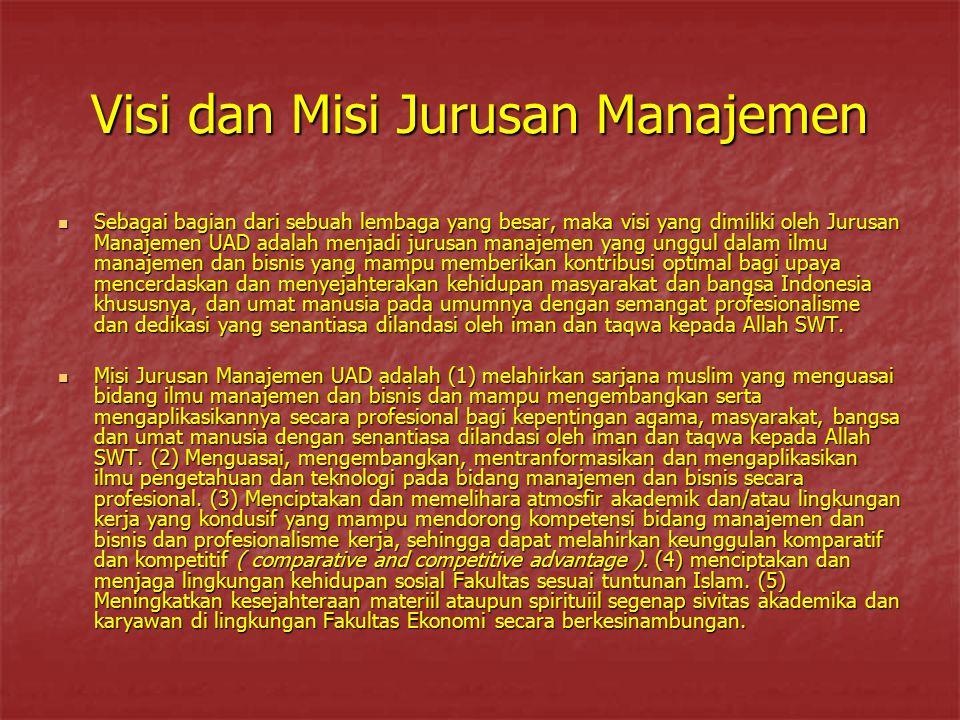 Visi dan Misi Jurusan Manajemen