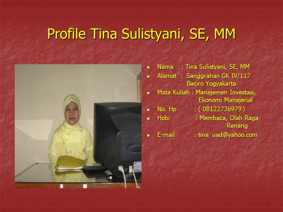 Profile Tina Sulistyani, SE, MM