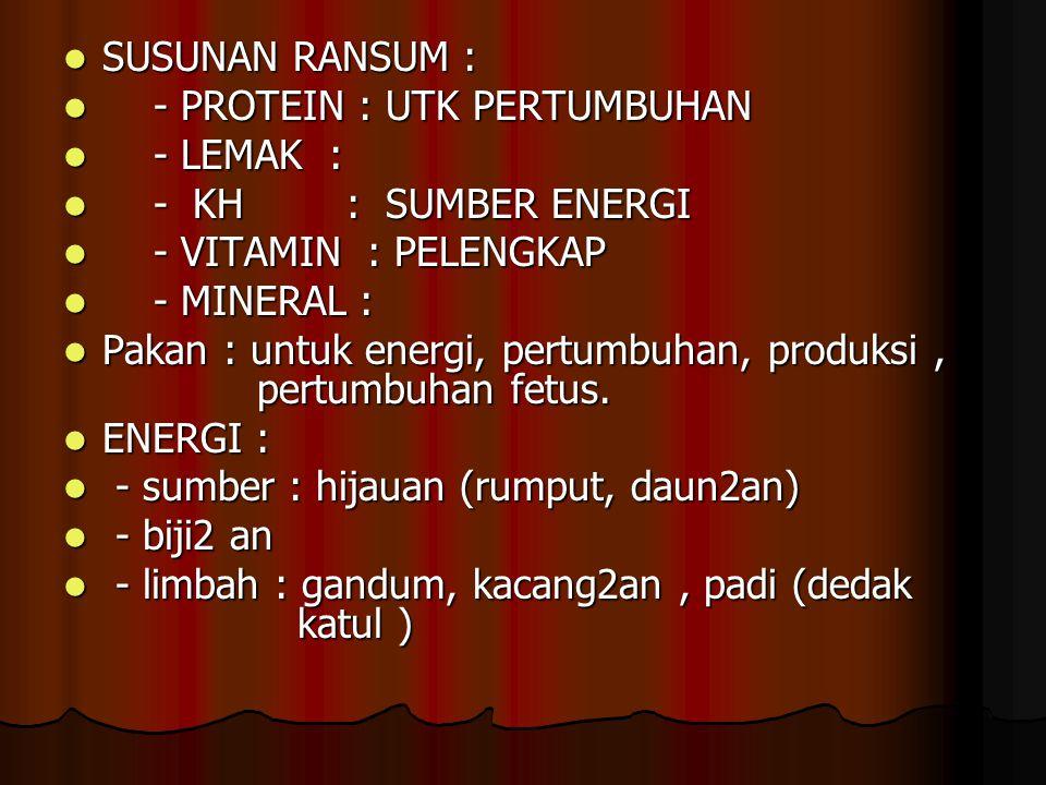 SUSUNAN RANSUM : - PROTEIN : UTK PERTUMBUHAN. - LEMAK : - KH : SUMBER ENERGI. - VITAMIN : PELENGKAP.