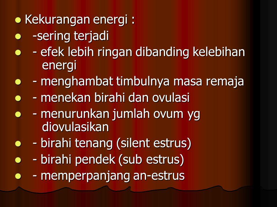 Kekurangan energi : -sering terjadi. - efek lebih ringan dibanding kelebihan energi. - menghambat timbulnya masa remaja.