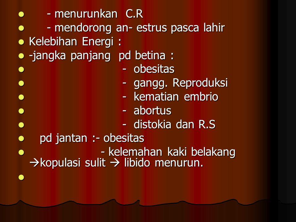 - menurunkan C.R - mendorong an- estrus pasca lahir. Kelebihan Energi : -jangka panjang pd betina :
