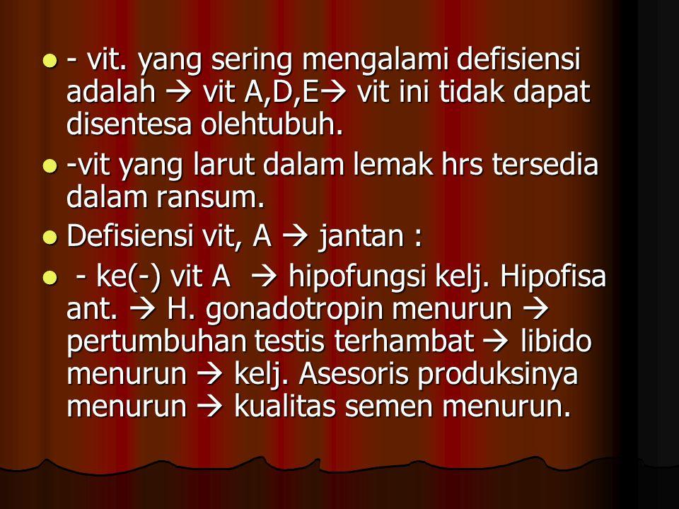 - vit. yang sering mengalami defisiensi adalah  vit A,D,E vit ini tidak dapat disentesa olehtubuh.