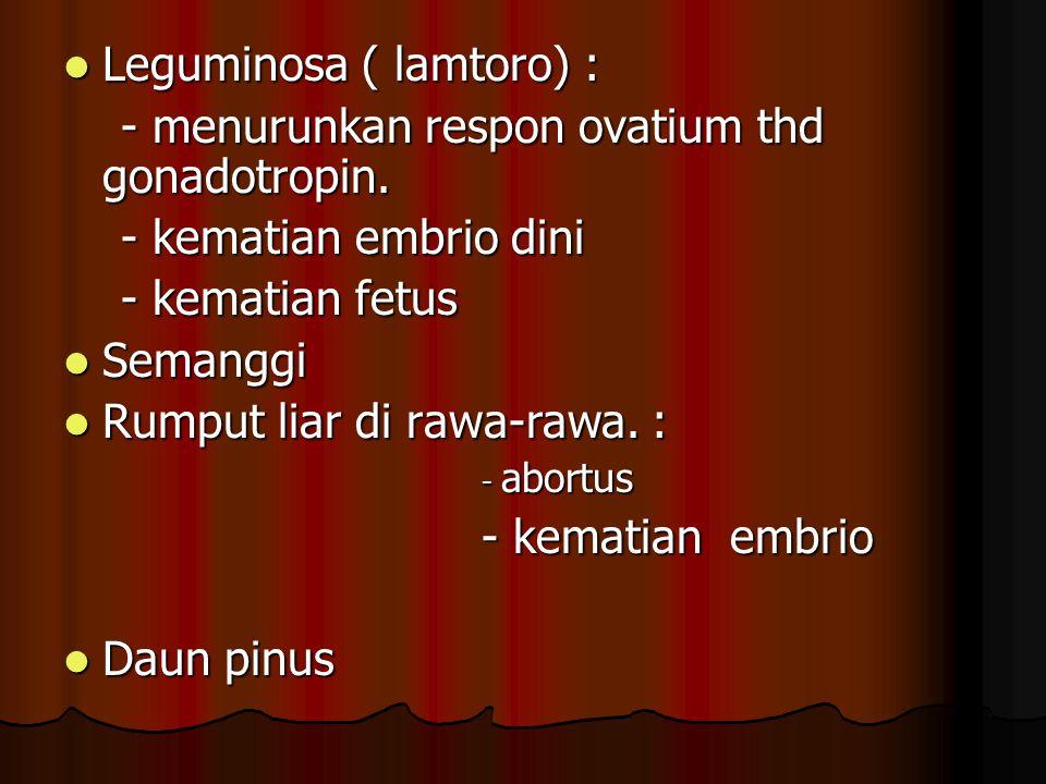 Leguminosa ( lamtoro) : - menurunkan respon ovatium thd gonadotropin.
