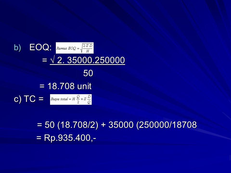 EOQ: = √ 2. 35000.250000. 50. = 18.708 unit. c) TC = = 50 (18.708/2) + 35000 (250000/18708.