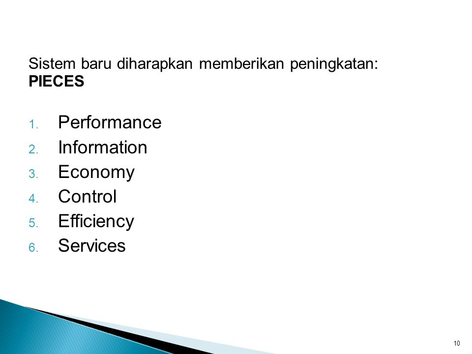 Performance Information Economy Control Efficiency Services
