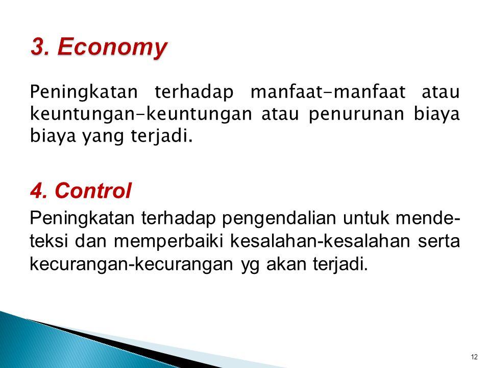 3. Economy Peningkatan terhadap manfaat-manfaat atau keuntungan-keuntungan atau penurunan biaya biaya yang terjadi.